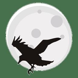Crow and moon cartoon