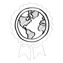 Globe ribbon doodle badge