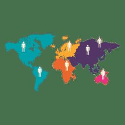 Man sign continental world map
