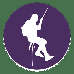Mountain climbing circle icon