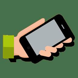 Smartphone on hand cartoon