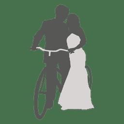 Wedding couple romancing with bicycle