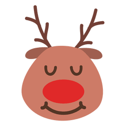 Eyes closed smile reindeer face emoticon 43