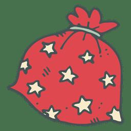 Red polka dot gift bag hand drawn cartoon icon 16