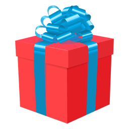 Red gift box blue bow icon 1