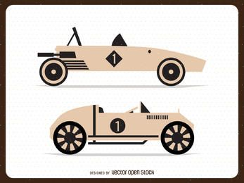 Isolated vintage cars illustrations