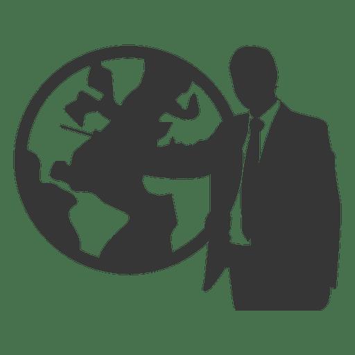 Businessman showing globe Transparent PNG