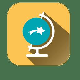 Desk globe square icon
