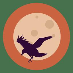 Flying raven circle icon
