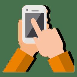 Hand touching smartphone
