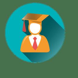 Male graduate round icon