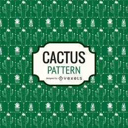Green hand drawn cactus pattern