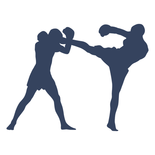 Boxing kickboxing fight blue silhouette Transparent PNG