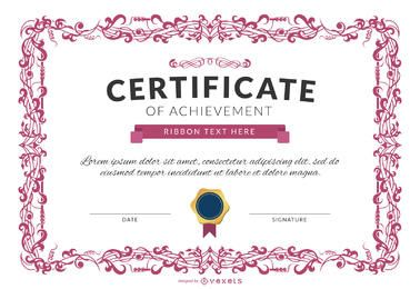 Certificate of achievement template mockup in pink
