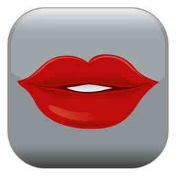 Red lips square icon