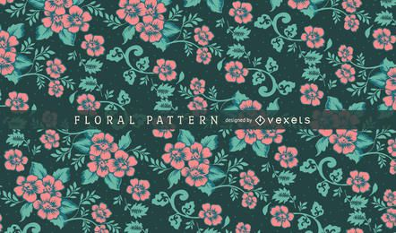 Green and pink floral pattern