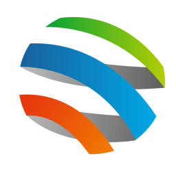 Colorful 3d spiral orbit icon