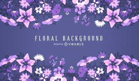 Purple floral background frame