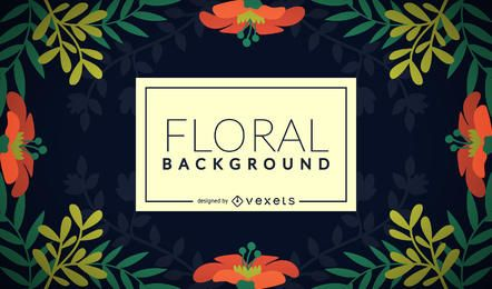 Fondo floral plano del marco