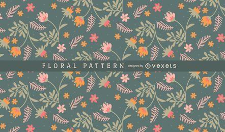 Flores y hojas de patrón de fondo
