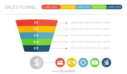 Flat funnel infographic design