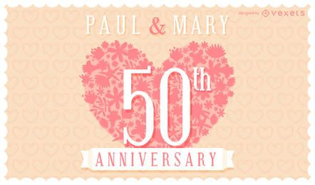 Floral wedding anniversary invitation card