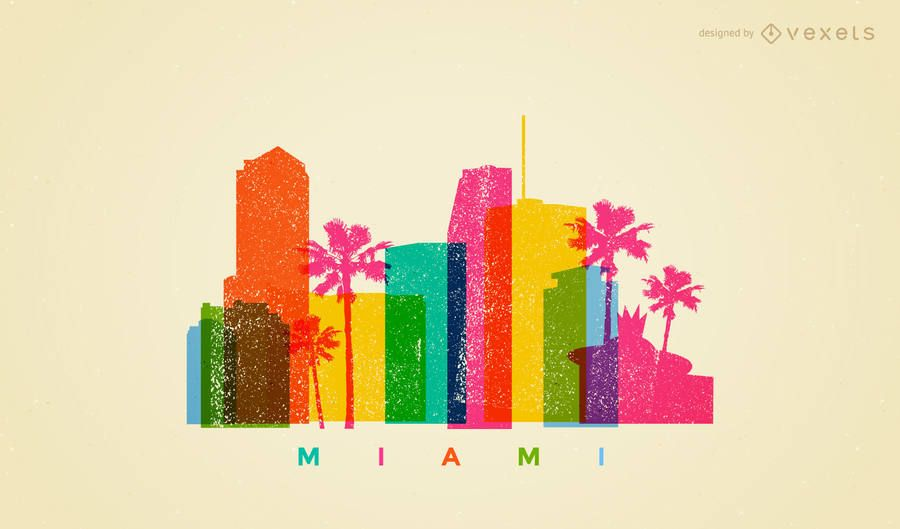 Miami Colorful Skyline