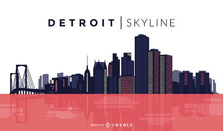 Detroit color skyline