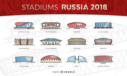 Russia 2018 Stadiums icons
