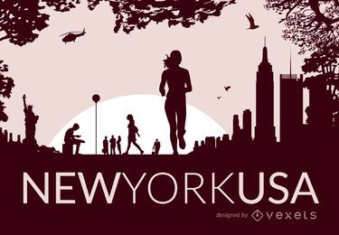 Horizonte de la ciudad de Nueva York con siluetas