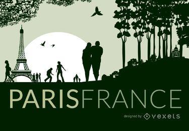 Paris skyline with silhouettes