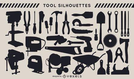 Conjunto de silueta de herramientas de construcción