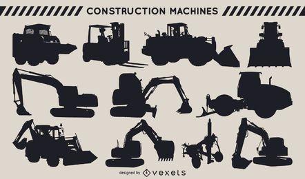 Conjunto de silueta de máquinas de construcción
