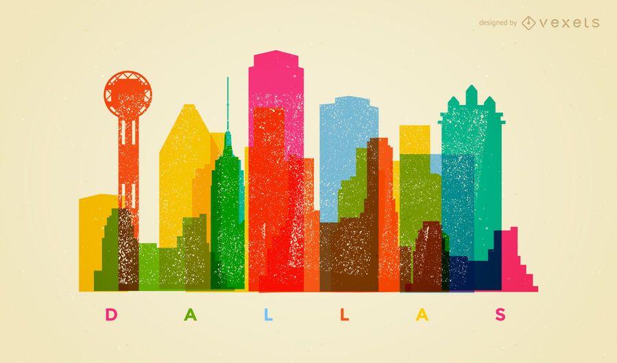 Colorful Dallas skyline