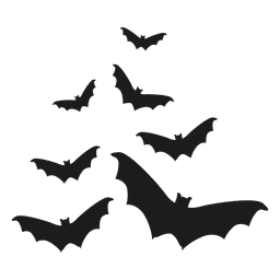 Set of black bat silhouettes 3