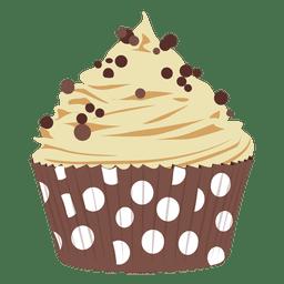 Chocolate chip cupcake illustration
