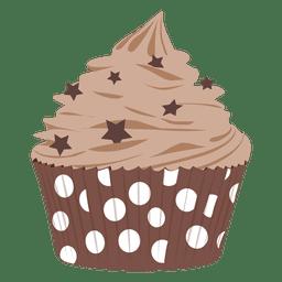 Chocolate frosting cupcake illustration