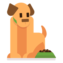 Dog with food illustration