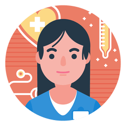 Flat nurse character badge