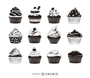 12 cupcake silhouette pack