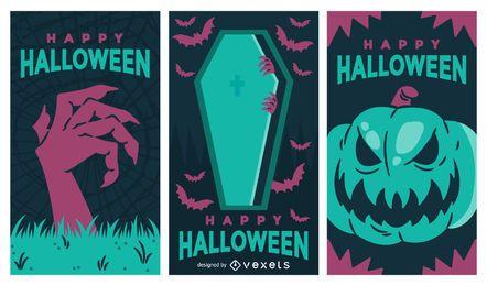 Conjunto de pancartas fantasmagóricas de Halloween