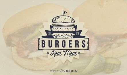 Burger fast food logo template design
