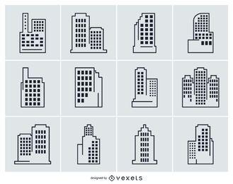 Colección, ciudad, edificio, ilustraciones