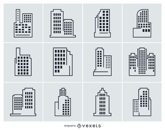 Collection of city building illustrations