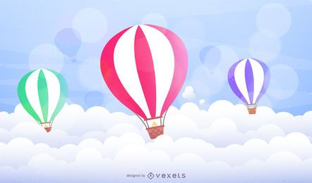 Illustrated hot air balloons over clouds