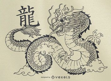 Chinese dragon illustration outline