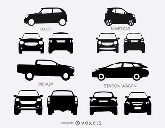 Set of car and pickup truck silhouettes