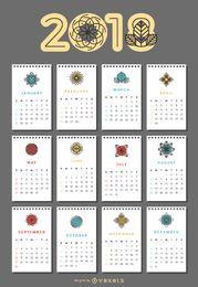 2018 calendar with flowers