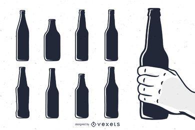 Conjunto de siluetas botella de cerveza