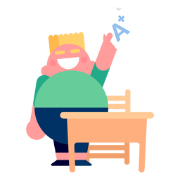 Boy a grade desk illustration